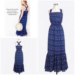 EUC J Crew Ikat adjustable Straps Blue Maxi Dress